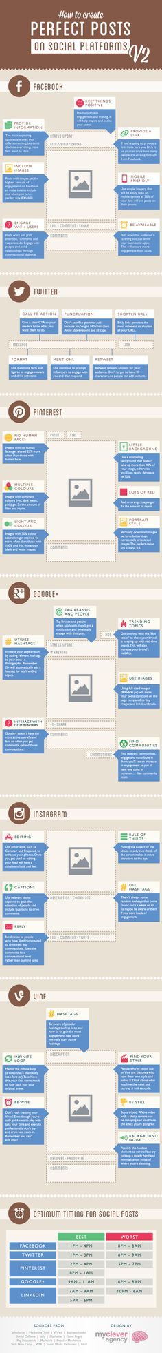 How To Create Perfect Vine, Instagram, Pinterest, Google+, Facebook & Twitter Posts: Version 2 [Infographic] - mycleveragency - Full Service Social