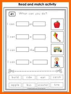This set has 44 worksheets in color and 44 worksheets in black and white. Students have to read the sentences and find the matching pictures.