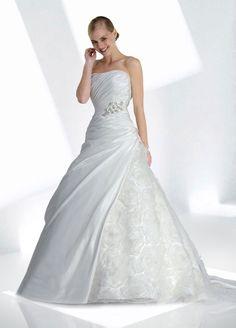 Empire waist chapel train sleeveless taffeta enchanting bridal gown
