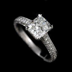 Diamond Cushion Micro Pave Engagement Ring 18k