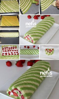 Food and drink roulades Creative Cakes, Creative Food, Bolo Original, Strawberry Roll Cake, Jelly Roll Cake, Swiss Roll Cakes, Cake Roll Recipes, Log Cake, Different Cakes