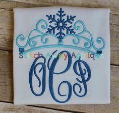 Snowflake Crown Monogram Shirt or Onesie  Custom by RockintheTutu