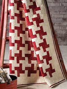 """Peppermint Easy - 55-1/2"""" X 67-1/2"""" - love it! / strip-pieced / use whatever colour suits you / beginner pattern - QUILTING"""