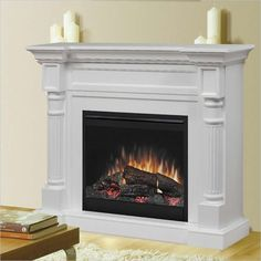 Winston Mantel Electric Fireplace in White - DFP26-1109W