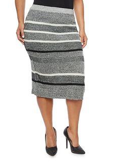 Plus Size Knit Midi Skirt in Stripes