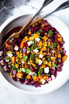 Truly one of the most beautiful and delicious Beet Salads with Pistachios, Feta, cilantro and orange in a simple citrus vinaigrette. Can be made ahead and keeps for 3 days in the fridge. #beetsalad #goldenbeets #beets Beet Salad Recipes, Lunch Recipes, Healthy Recipes, Vegetarian Recipes, Healthy Carbs, Vegan Meals, Healthy Salads, Healthy Food, Dinner Recipes