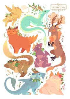 Creature Drawing I finally made a proper print of my Tea Dragon varieties! I'm still missing a lot of favourites, I'll draw all of them eventually :)If you like, you can purchase this on INPRNT - Creature Drawings, Animal Drawings, Cool Drawings, Fantasy Kunst, Fantasy Art, Fantasy Makeup, Illustrations, Illustration Art, Anime Body