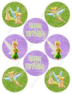 TWO Sheets Digital Tinkerbell Inspired Printable Birthday Party Cupcake Toppers 3 inch and 2 inch