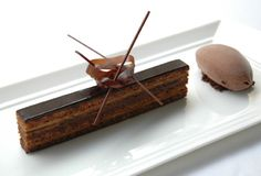 Raphael Haasz, Café Boulud: coffee opera cake: two layers of coffee syrup soaked Jaconde biscuit, topped with coffee buttercream, a layer of bittersweet chocolate ganache, and dark chocolate glaze.