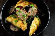 grilled and kielbasa and pierogi with mustard vinaigrette