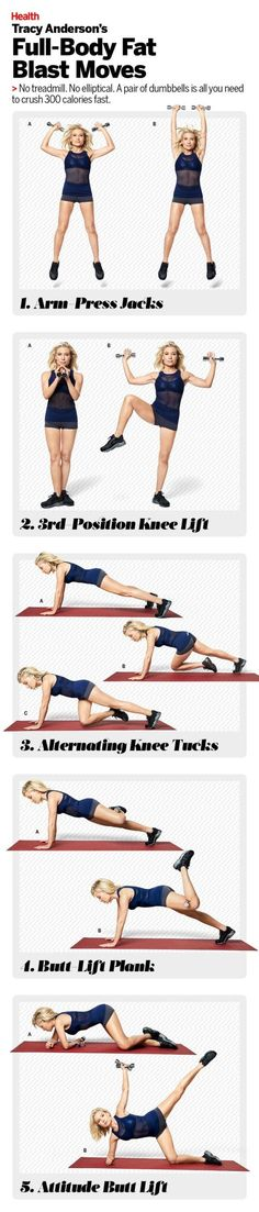 The full-body fat blast workout with Tracy Anderson: Burn more fat and crush 300 calories quickly with these challenging, fast-paced moves. Need to get some Dumbbells for this workout that I can do at home. Full Body Workouts, At Home Workouts, Gym Workouts, Quick Workouts, Training Fitness, Fitness Tips, Fitness Motivation, Health Fitness, Men Health