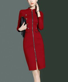 look at this zulilyfind red wine long sleeve front zipper sheath dress