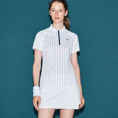 LACOSTE Women's SPORT Tennis Zip Neck Striped Tech Piqué Polo - WHITE/OCEAN BLUE. #lacoste #cloth #