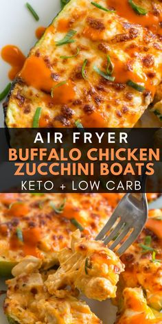 Keto Buffalo Chicken Zucchini Boats can be made in the air fryer or oven! They are packed with tangy buffalo sauce, chicken and cheese! Only 4 net carbs per serving! fryer keto recipes Keto Buffalo Chicken Zucchini Boats (Air fryer or oven! Air Fryer Recipes Wings, Air Fryer Recipes Vegetarian, Air Fryer Recipes Vegetables, Air Fryer Recipes Snacks, Air Fryer Recipes Low Carb, Air Fryer Recipes Breakfast, Air Fryer Dinner Recipes, Healthy Chicken Recipes, Vegetable Recipes