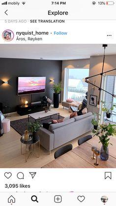 Home Living Room, Apartment Living, Interior Design Living Room, Living Room Designs, Living Room Decor, Interior Livingroom, Open Plan Kitchen Living Room, Warm Home Decor, House Ideas