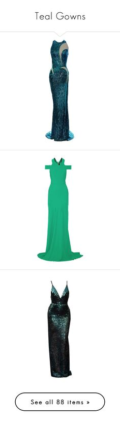 """Teal Gowns"" by srta-sr ❤ liked on Polyvore featuring smrgowns, gown, dresses, gowns, gowns green, long dresses, roland mouret, cut out gown, zipper dress and roland mouret gown"