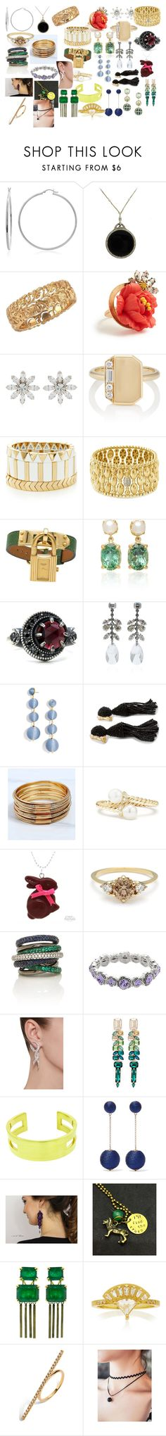"""jewelry #20"" by lukehemmings150 ❤ liked on Polyvore featuring Sterling Essentials, Elizabeth Cole, CA&LOU, My Story, Hulchi Belluni, Hermès, BaubleBar, Oscar de la Renta, David Yurman and Napier"