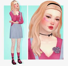 """SIM REQUEST Emily """"So I was wondering if you could make me a female sim, creative, a bro and childish. Long blonde hair, very fair skin and almost amber eyes. She has kind of a child like attitude to her, so her. Maxis, Sims 4 Children, Children Clothing, Sims 4 Teen, Play Sims, Sims 4 Characters, Sims 4 Mm Cc, The Sims 4 Download, Sims 4 Cas"""