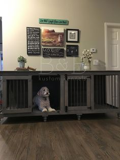 trendy wooden dog crate furniture pet kennels - World of Animals Wooden Dog Crate, Wooden Dog Kennels, Diy Dog Crate, Pet Kennels, Double Dog Crate, Large Dog Crate, Large Dogs, Dog Crate Furniture, Home Luxury
