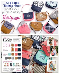 #31 STUDIO THIRTY-ONE – Spring 2018 – BYOB… Express yourself with endless Build Your Own Bag options. Mix N' Match bodys, flaps and straps with  Calypso Coral Pebble, Carmel Charm Pebble, Dash Of Plaid Pebble, Diamond Straw, Dotty Hexagon, Fab Flourish, Midnight Navy Pebble, Skies For You Pebble and Twill Stripe. Learn more at MyThirtyOne.com