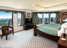 Spacious: The master suite, pictures, comprises the entire top floor of the 75-floor high rise