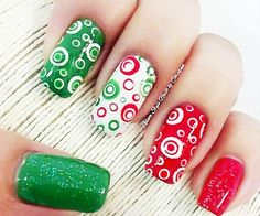 green red white dotted nails