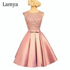 Lamya Short A Line Pink Stain Prom Dresses For Women 2016 Lace Wedding Party Fromal Dress Vestido De Festa EV2931 (1)