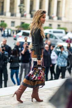 sweater, midi skirt and knee-high boots