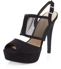 Chaussures peep toes noires en maille filet avec talons à plateforme et brides sur le devant