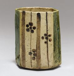 A Stoneware Food Vessel (Mukozuke) Mino Ware, Green Oribe (Ao-Oribe) Type, Momoyama period (early 17th century)