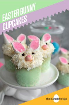 Bunny Cupcakes Enjoying a dessert after a scrumptious Easter Brunch is icing on the cupcake. These Bunny Cupcakes are the perfect recipe to end a holiday with loved ones. Easter Snacks, Easter Treats, Easter Recipes, Easter Desserts, Easter Food, Spring Recipes, Easter Bunny Cupcakes, Easter Cookies, Incredible Eggs