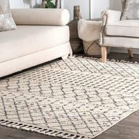Shop for The Curated Nomad Ashbury Contemporary Geometric Tassel Area Rug. Get free delivery On EVERYTHING* Overstock - Your Online Home Decor Store! Moroccan Area Rug, Modern Moroccan, Beige Couch, Contemporary Carpet, Washable Area Rugs, Area Rugs For Sale, Trellis Pattern, Online Home Decor Stores, Online Shopping