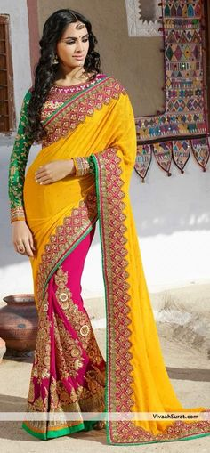 Fuchsia Yellow Sari