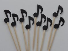 Items similar to 24 Black Music Note Party Picks - Cupcake Toppers - Food Picks on Etsy Music Theme Birthday, Music Themed Parties, Music Note Cake, Music Notes, Music Crafts, Music Decor, Violetta Cake, Music Cupcakes, Piano Cakes