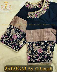 Half Saree Designs, Saree Blouse Neck Designs, Bridal Blouse Designs, Indian Gowns, Indian Attire, Work Blouse, Peacock Embroidery Designs, Kutch Work, Glitter Lipstick