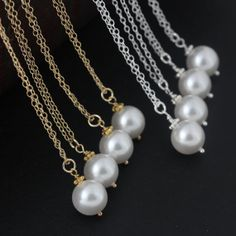 Adorable Single Pearl Necklace Gold Pearl by MonyArtBridalJewelry, $21.80