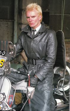 """rockstarsuits: """" Sting rocking the mod suit and leather trench coat in Quadrophenia """" The Best Films, Great Films, Mod Scooter, Lambretta Scooter, Vespa Scooters, Mod Suits, Mod Girl, Rude Boy, Bmw Motorcycles"""