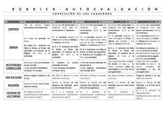 Rubrica cuaderno de tareas 2014-15 by Pilar GMor via slideshare Sheet Music, Math Equations, School, Ss, Teacher Notebook, Time Management, Teaching Letters, Music Class, Rubrics