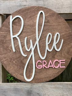This listing is for an 20 round stained and painted name sign for a baby girl nursery or girls room. Round wood measures and is 1 4 Birch plywood and the name is laser cut from 1 4 Birch plywood. The round piece comes stained and the name comes painte