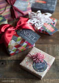 Free printables: Chalkboard Christmas Gift Tags + Wrapping Papers from Lia Griffith