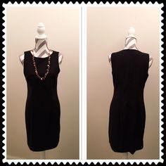 Black Dress Sleeveless black dress. Zips up the back. Size 10. 97% polyester 3% spandex. 34 1/2 in long. Bust 17 in across. Waist 15 1/2 in. Hips 17 in. All measurements taken laying flat. Worn once!! AB Studio Dresses