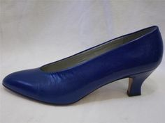 Vintage Pumps Blue Leather Liz Claiborne Sculptured Heel 7 M