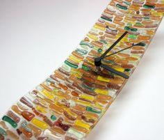 Relógio p/ parede em vidro   35 x 10 cm    PEÇA EXCLUSIVA   R$68,00