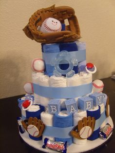 Baseball diaper cake. @Bernice Keetch Keetch Keetch Oregel, this is what I want for my future surprise boy baby shower! :) by MinnieCorona