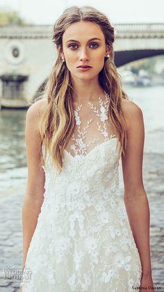 sabrina dahan bridal fall 2016 halter neck illusion neckline floral lace applique embroidery romantic a line wedding dress style chloe