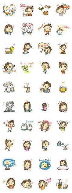 It is a cute girl stickers. Line Store, Line Sticker, Cute Girls, The Creator, Therapy, Doodles, Comic, Stickers, Deco