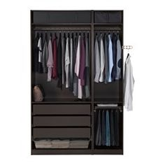 Combinations without doors - PAX system - IKEA Black Wardrobe, Pax Wardrobe, Modern Wardrobe, Wardrobe Design, At Home Furniture Store, Modern Home Furniture, Placard Simple, Pax Planer, Apartments