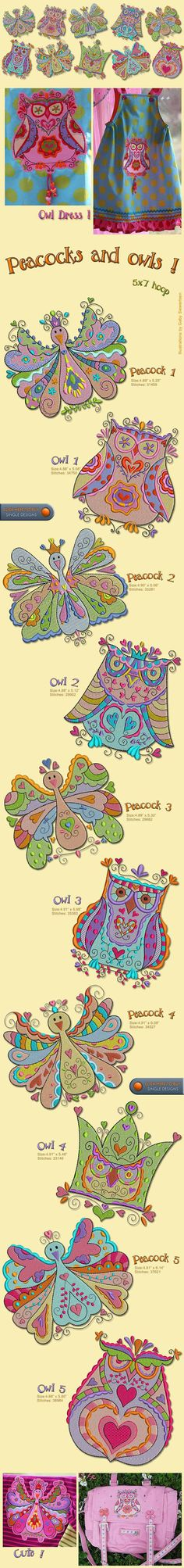 Funky peacocks and owls embroidery designs