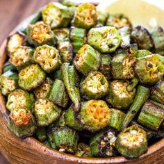 This is a simple flavorful and easy Baked Okra recipe. Seasoned with paprika salt and a pinch of cayenne this okra makes a great snack or side dish. Veggie Side Dishes, Vegetable Sides, Side Dish Recipes, Vegetable Recipes, Vegetarian Recipes, Healthy Recipes, Easy Vegetable Side Dishes, Vegetarian Barbecue, Cheap Recipes