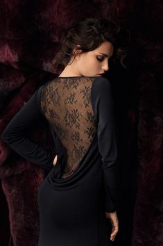 Catrinal Menghia, for Lise Charmel lingerie. This pose has plenty of promise for highlighting the curve of the client's back. A piece of fabric with good draping qualities can be pinned at the bust and draped such that it gathers just above her bottom.